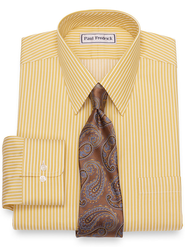Impeccable Non-Iron Cotton Satin Stripe Dress Shirt