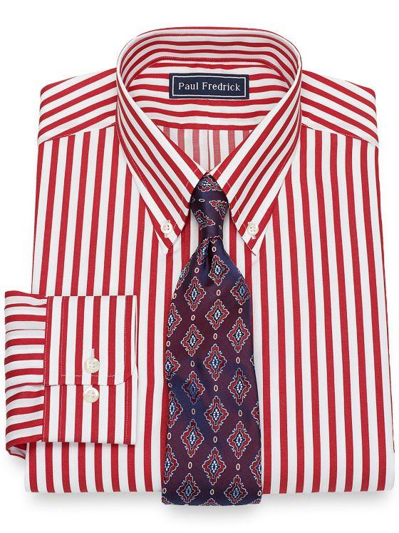 Pure Cotton Broadcloth Satin Stripe Dress Shirt