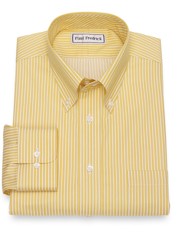 Slim Fit Impeccable Non-Iron Cotton Satin Stripe Dress Shirt