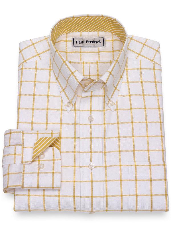 Slim Fit Impeccable Non-Iron Cotton Windowpane Dress Shirt with Contrast Trim