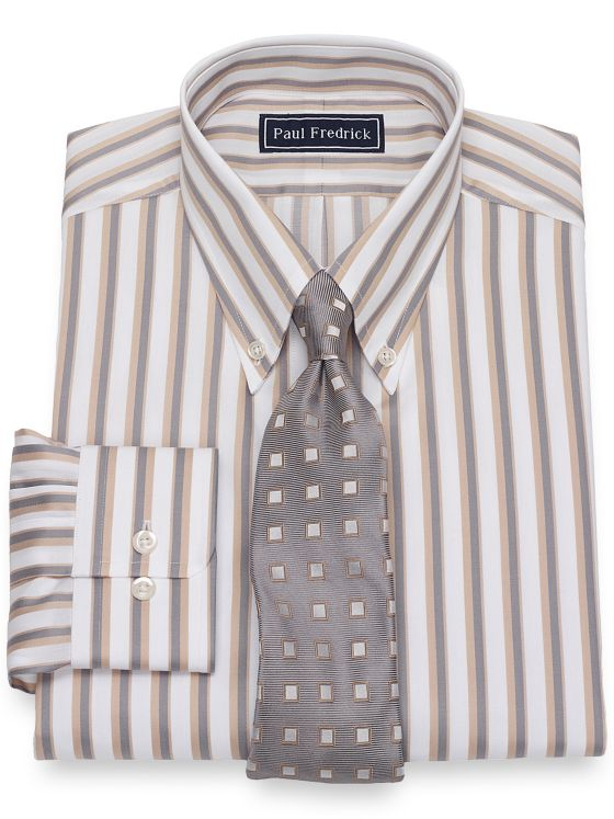 Slim Fit Pure Cotton Broadcloth Satin Stripe Dress Shirt