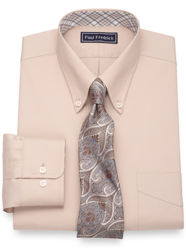 Pure Cotton Pinpoint Solid Color Dress Shirt with Contrast Trim