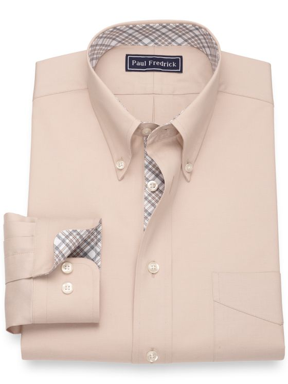 Slim Fit Pure Cotton Pinpoint Solid Color Dress Shirt with Contrast Trim