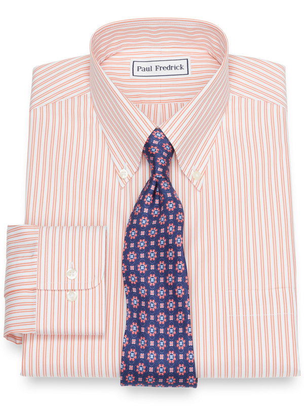 Slim Fit Supima Non-Iron Cotton Twin Stripe Dress Shirt