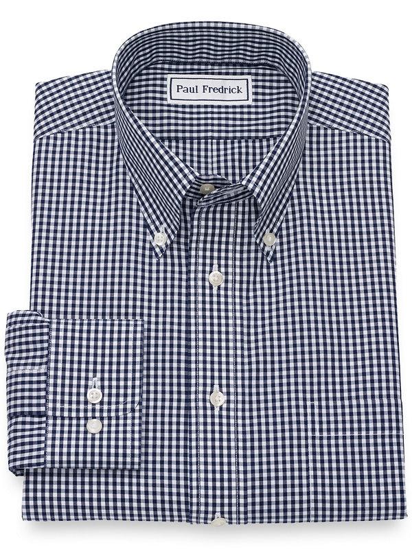 Slim Fit Supima Non-Iron Cotton Gingham Dress Shirt