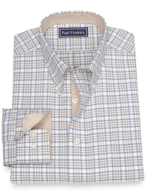 Slim Fit Pure Cotton Broadcloth Check Dress Shirt with Contrast Trim