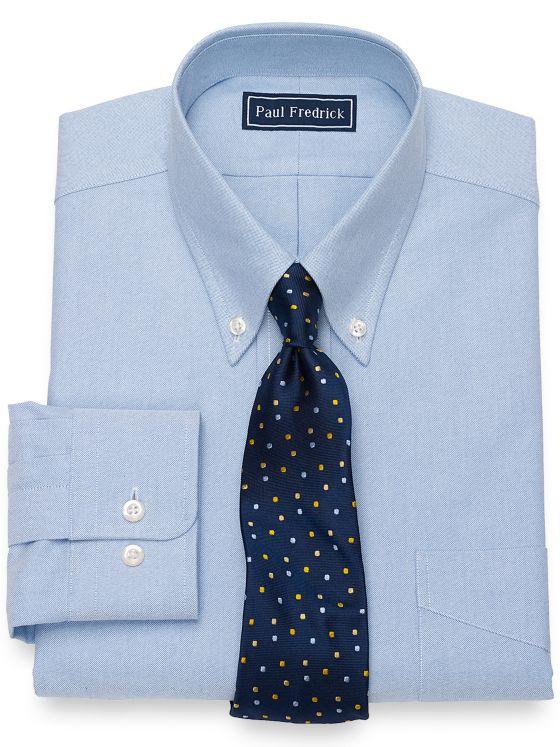 Slim Fit Pure Cotton Oxford Solid Color Dress Shirt