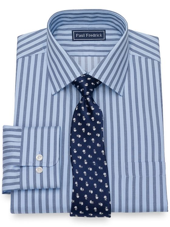 Pure Cotton Broadcloth Alternating Stripe Dress Shirt