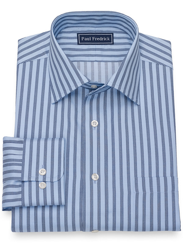 Slim Fit Pure Cotton Broadcloth Alternating Stripe Dress Shirt