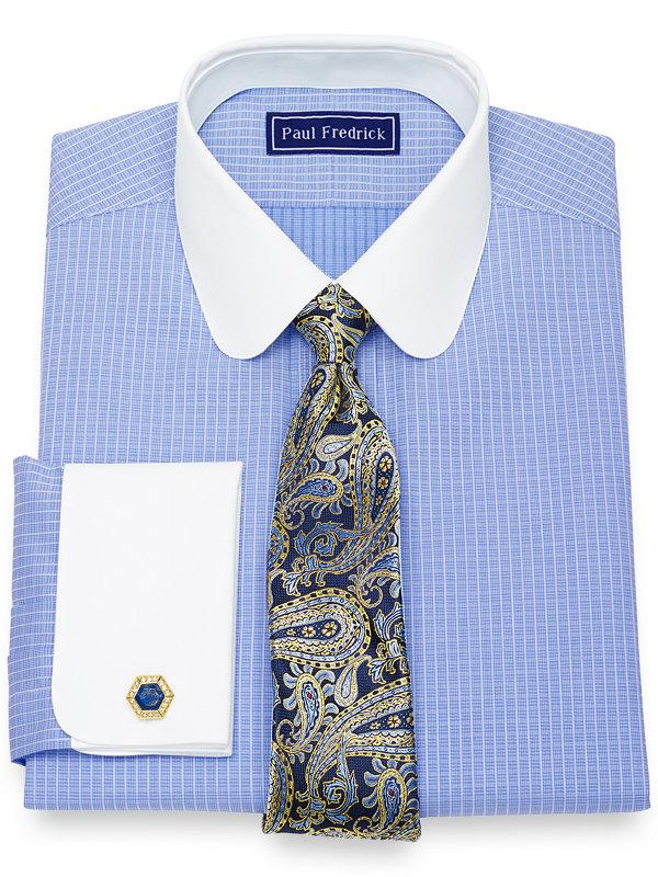 Pure Cotton Broadcloth Mini Check Dress Shirt