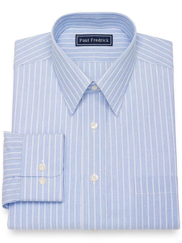 Pure Cotton Broadcloth Shadow Stripe Dress Shirt