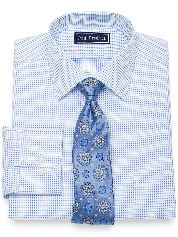 Slim Fit Pure Cotton Broadcloth Dot Pattern Dress Shirt