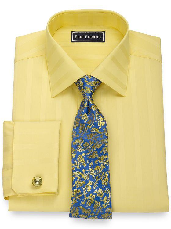 Pure Cotton Broadcloth Bold Satin Stripe Dress Shirt