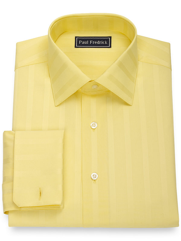 Pure Cotton Broadcloth Bold Satin Stripe Dress Shirt