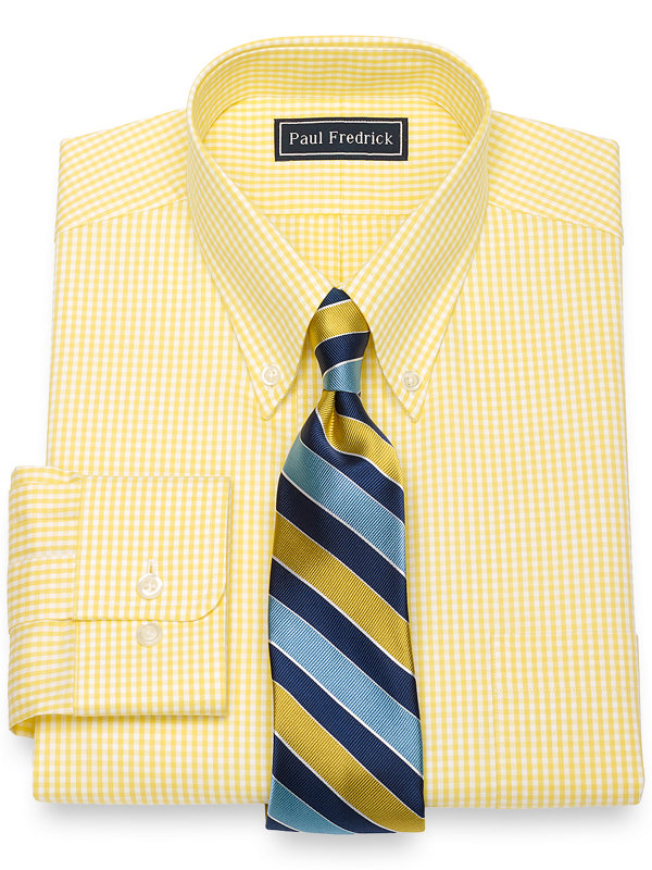Slim Fit Pure Cotton Broadcloth Gingham Dress Shirt