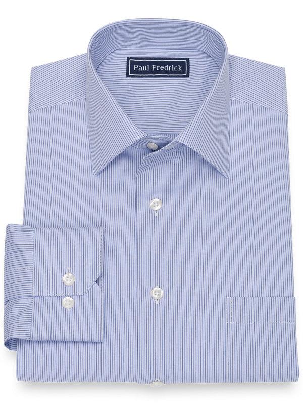 Pure Cotton Broadcloth Alternating Stripe Dress Shirt