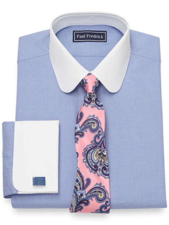 Slim Fit Pure Cotton Broadcloth Textured Pattern Dress Shirt
