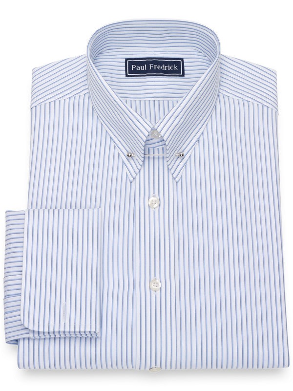 Pure Cotton Broadcloth Shadow Stripe Pattern Dress Shirt
