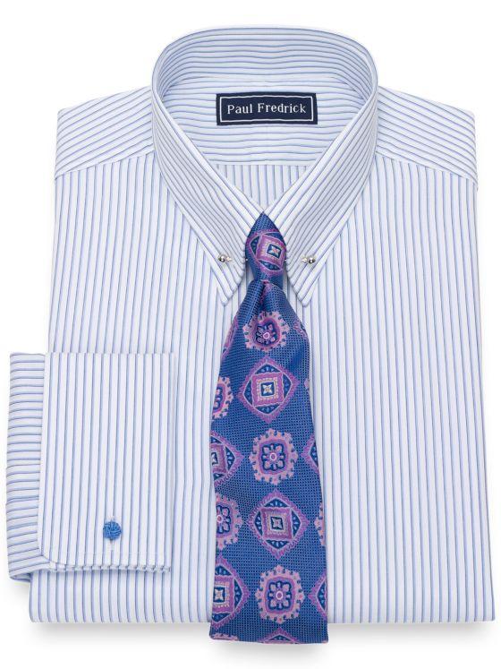 Slim Fit Pure Cotton Broadcloth Shadow Stripe Pattern Dress Shirt
