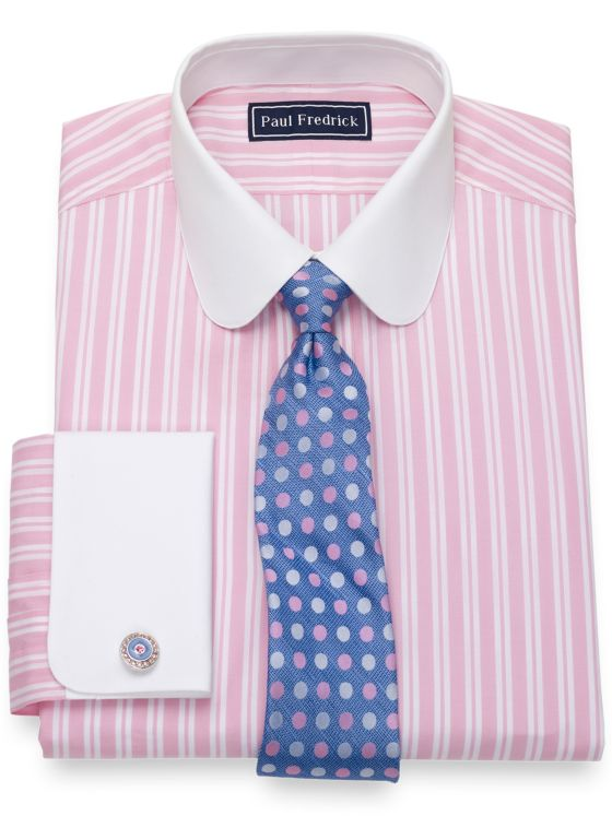 Pure Cotton Broadcloth Tread Stripe Dress Shirt