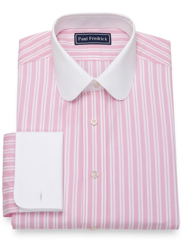 Pure Cotton Broadcloth Tread Stripe Dress Shirt