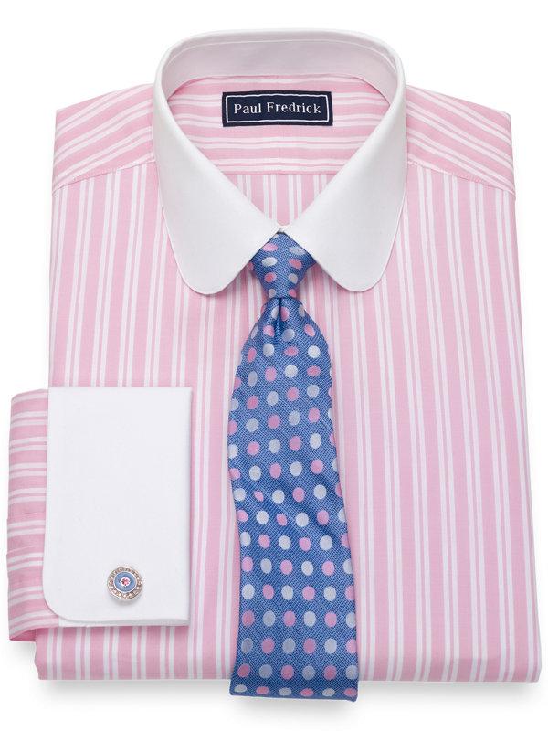 Slim Fit Pure Cotton Broadcloth Tread Stripe Dress Shirt