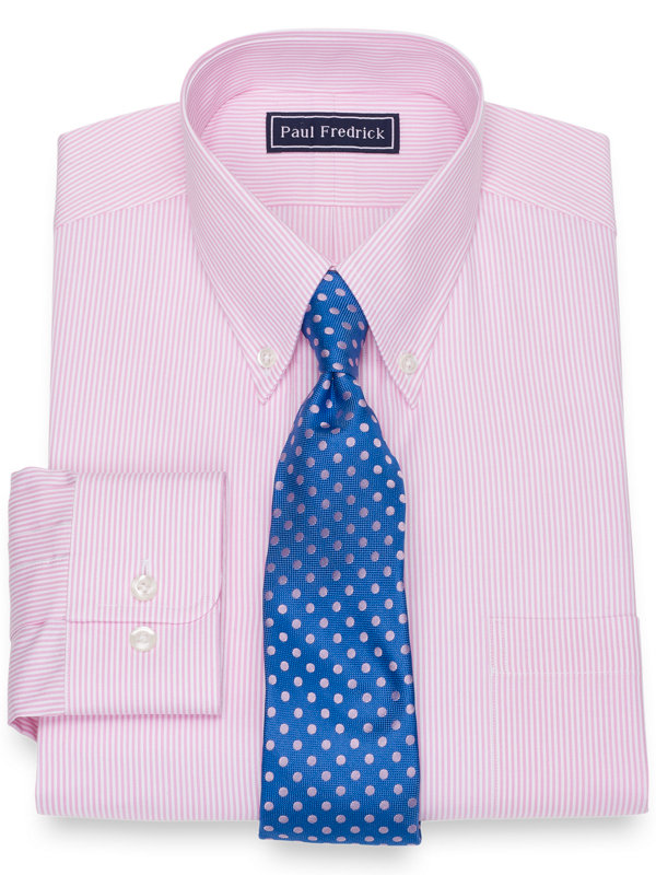 Pure Cotton Broadcloth Fine Line Stripe Dress Shirt