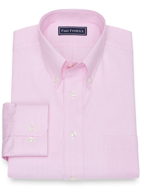 Slim Fit Pure Cotton Broadcloth Fine Line Stripe Dress Shirt