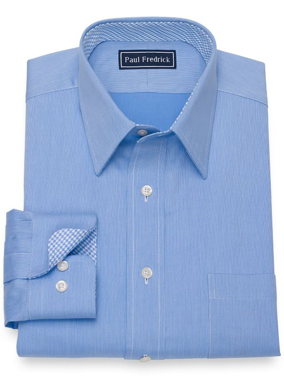 Pure Cotton Broadcloth Textured Pattern Dress Shirt with Contrast Trim