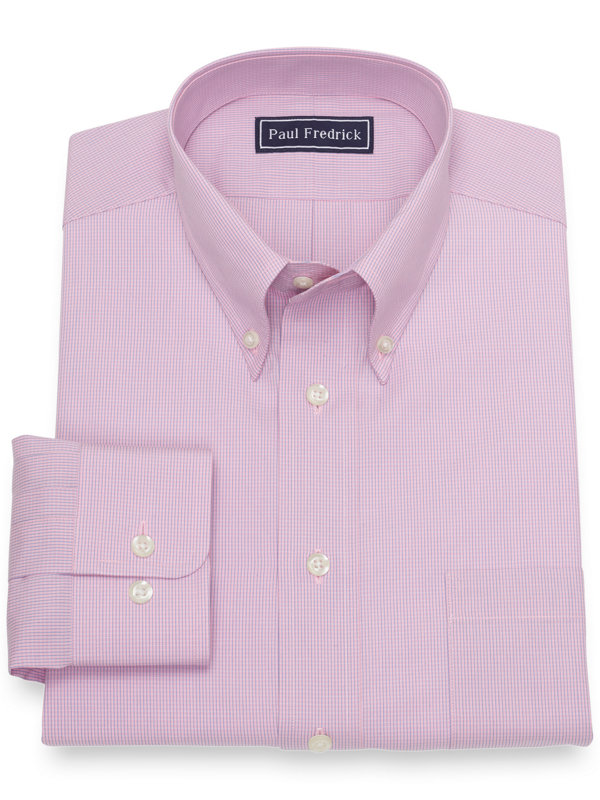 Pure Cotton Broadcloth Mini Check Dress Shirt