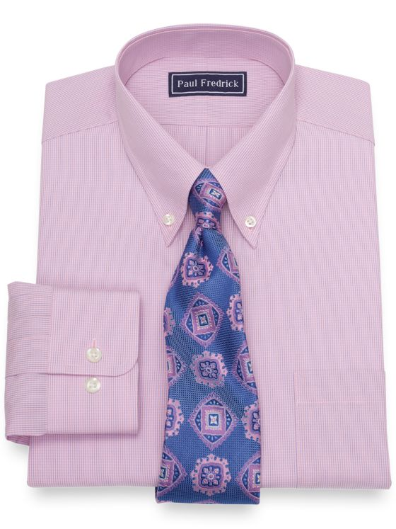 Slim Fit Pure Cotton Broadcloth Mini Check Dress Shirt