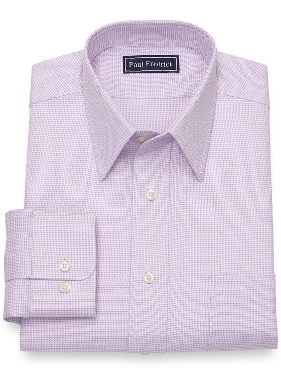 Pure Cotton Broadcloth Mini Houndstooth Dress Shirt