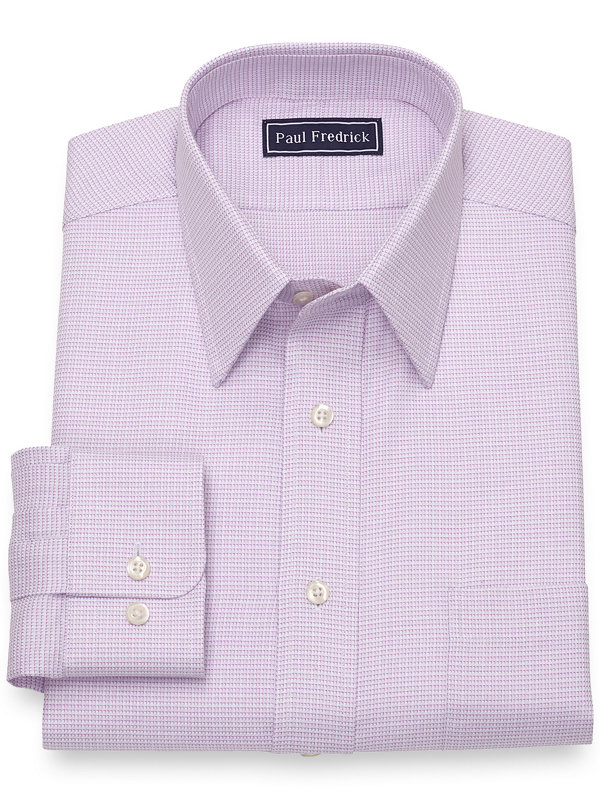Slim Fit Pure Cotton Broadcloth Mini Houndstooth Dress Shirt