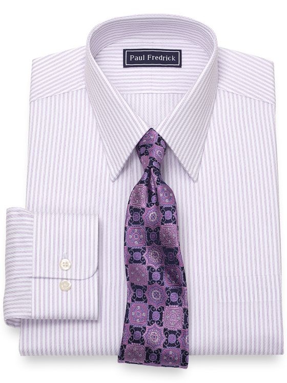 Slim Fit Pure Cotton Broadcloth Twin Stripe Dress Shirt