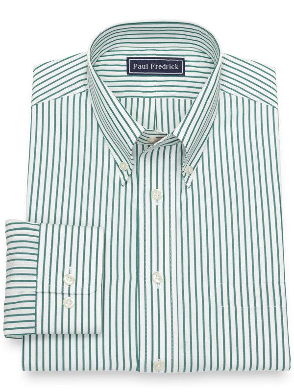 Slim Fit Pure Cotton Broadcloth Bengal Stripe Dress Shirt