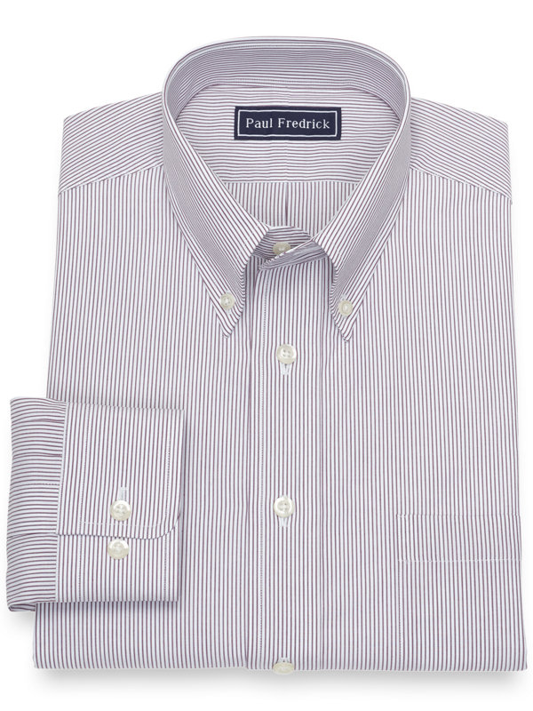 Pure Cotton Broadcloth Fine Line Stripe Dress Shirt