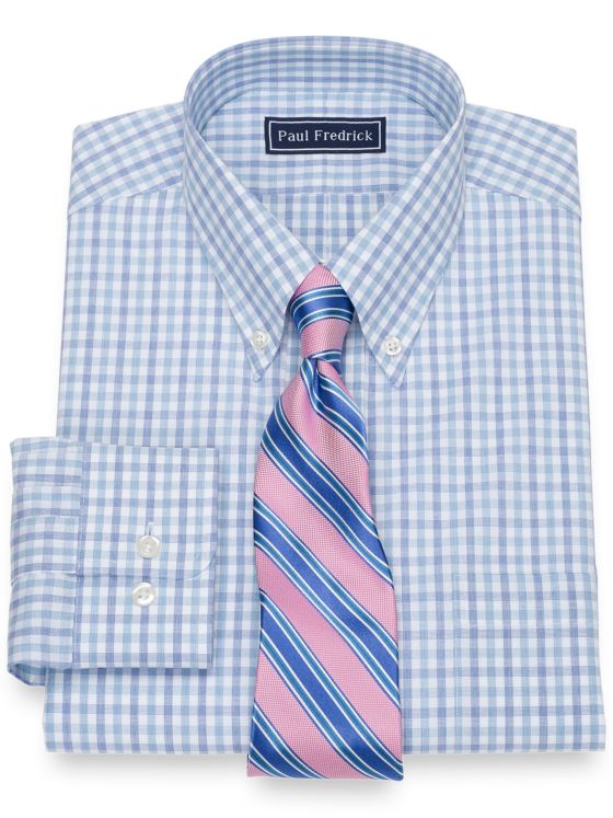 Slim Fit Pure Cotton Broadcloth Check Dress Shirt