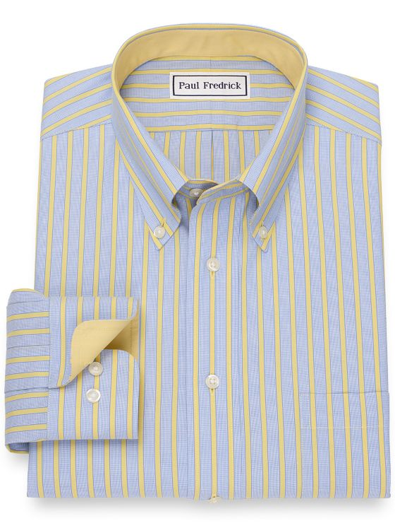 Non-Iron Cotton Pinpoint Wide Stripe Dress Shirt with Contrast Trim
