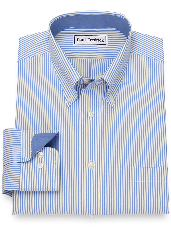 Slim Fit Non-Iron Cotton Pinpoint Shadow Stripe Dress Shirt with Contrast Trim