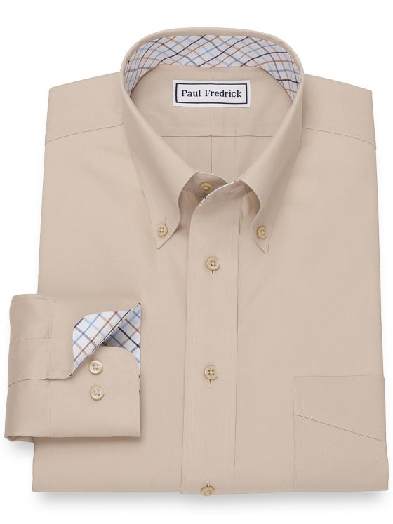 Slim Fit Non-Iron Cotton Pinpoint Solid Pinpoint Dress Shirt with Contrast Trim