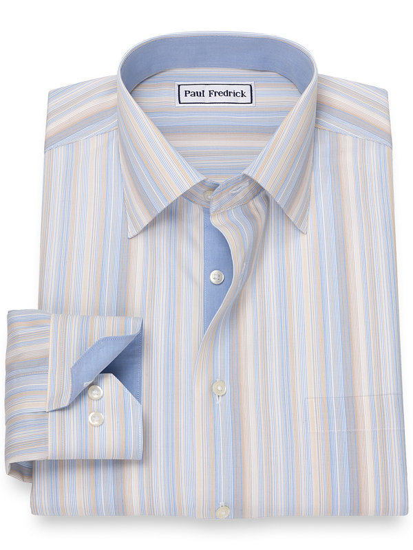 Non-Iron Cotton Broadcloth Variegated Stripe Dress Shirt with Contrast Trim