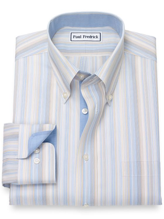 Slim Fit Non-Iron Cotton Broadcloth Stripe Dress Shirt with Contrast Trim