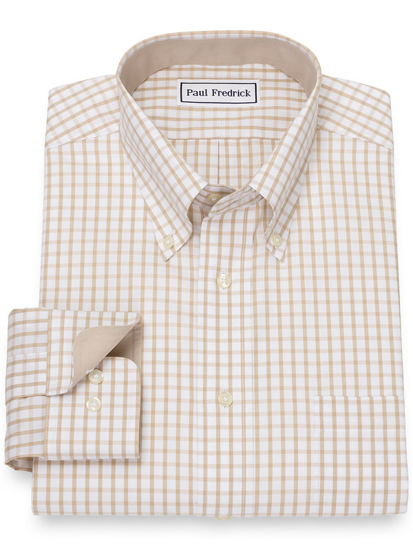 Slim Fit Non-Iron Cotton Pinpoint Check Dress Shirt with Contrast Trim