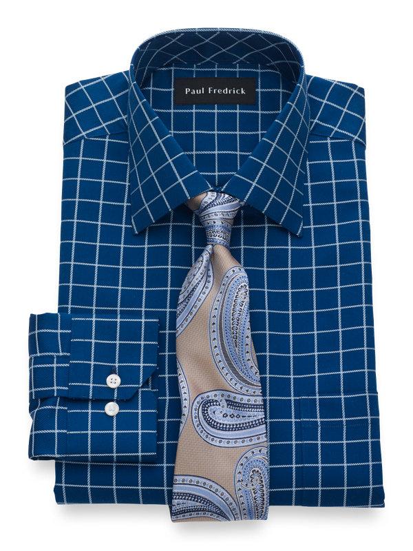 Pure Cotton Satin Grid Button Cuff Dress Shirt