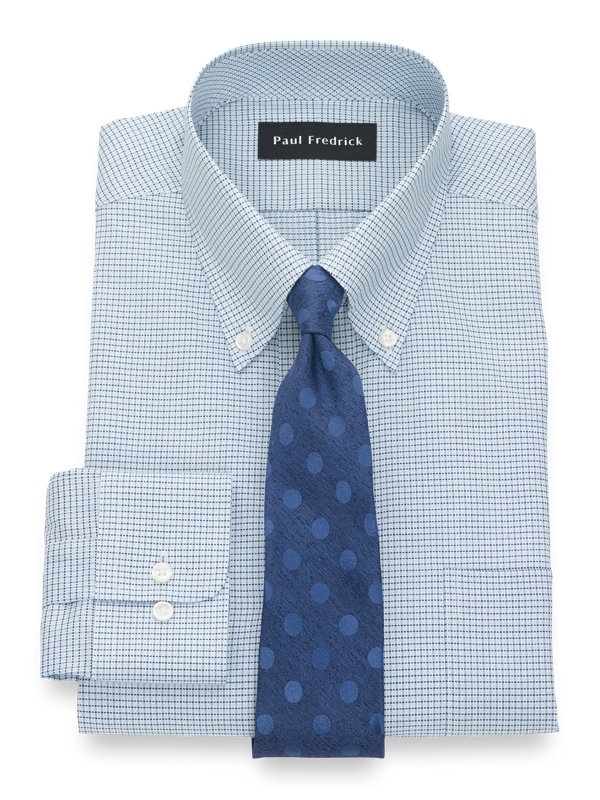 Slim Fit Pure Cotton Mini Check Button Cuff Dress Shirt