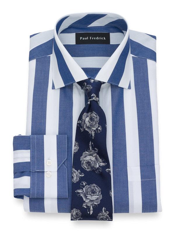 Slim Fit Pure Cotton Wide Stripe Button Cuff Dress Shirt