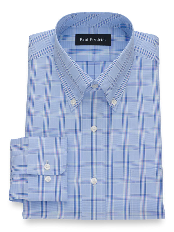 Cotton Check Button Cuff Dress Shirt