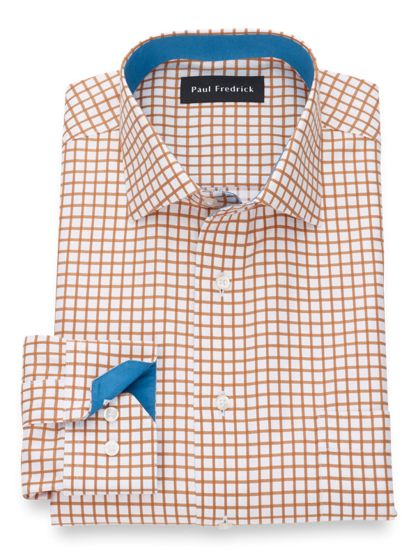 Tailored Fit Non-Iron Supima Cotton Check Dress Shirt with Contrast Trim