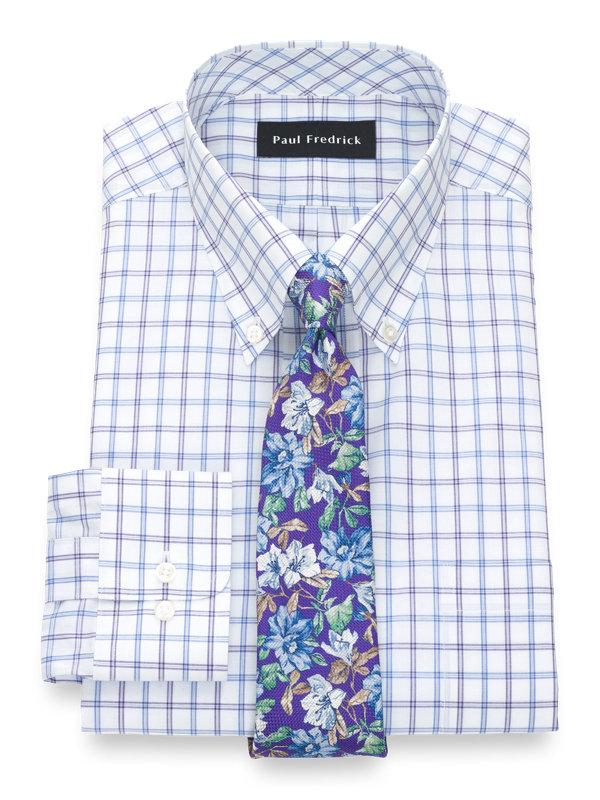 Slim Fit Pure Cotton Tattersall Button Cuff Dress Shirt