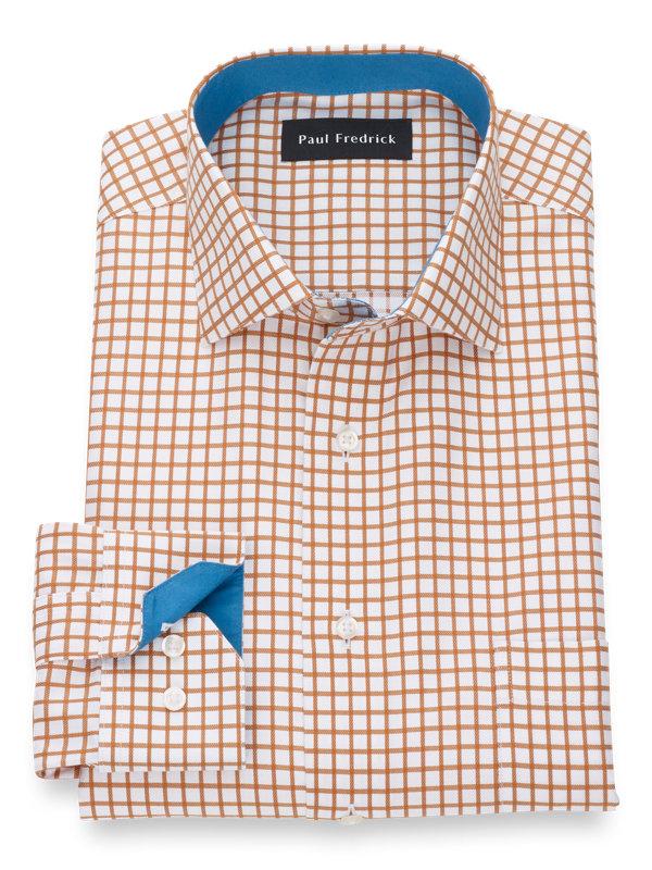 Slim Fit Non-Iron Supima Cotton Check Dress Shirt with Contrast Trim